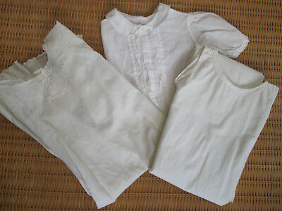 Vintage Baby Dress Christening Gown Silp Heirloom Embroidered Cotton Lawn 3 Pcs