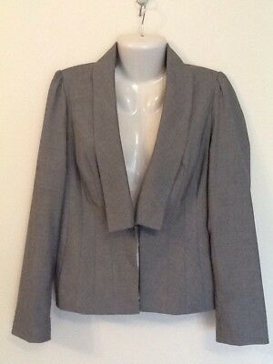 BARKINS Size 14 Black/white Fine Weave Skirt Suit Corporate Work Business