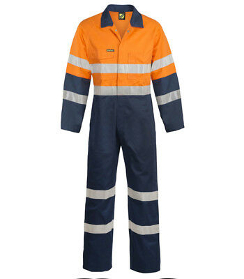 overalls mens coverall welding cotton drill heavy duty strong orange/navy + tape