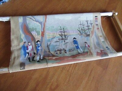 Vintage   Captain Cooks Landing Botany Bay Tapestry Canvas,partly Worked + Frame
