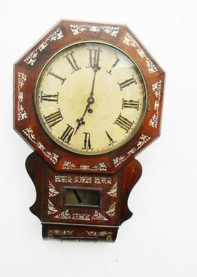 fusee clock rosewood & mother of pearl inlaid drop dial wallclock 8 day movement