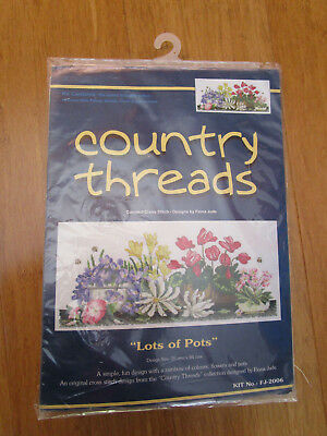 Country Threads Cross Stitch Kit Of Lots Of Pots 20 X 44Cms By Fiona Jude