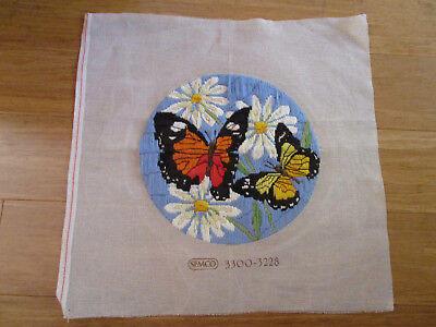 Semco Completed Long Stitch Of Butterflies And Daisies. 28.5Cms Aperture