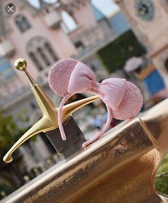 Disney Parks Pink Millennial Ears Minnie Sequin Headband Rose Gold Champagne NWT