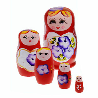 BL_ HK- 5 Pcs Russian Wooden Doll Set Hand Painted Nesting Matryoshka Toy Gift F