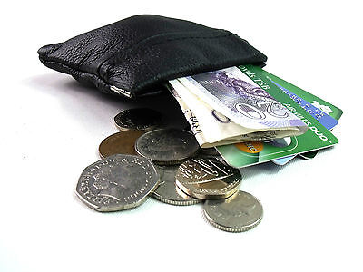 AUS SNAP MENS LADIES BLACK REAL LEATHER COIN change POUCH WALLET PURSE spring