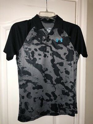 Under Armour UA Match Play Printed Boys' Polo Shirt. Size Large. Gray/Black