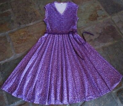 RETRO VINTAGE PURPLE CRIMPED STRETCHY BODICE SUNRAY PLEAT ENGLAND 1970s DRESS