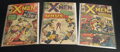 Lookee!---> Lot of *3* Early X-MEN Comics: #7 (G), #8 (G), #9 (G/VG) or (VG-)