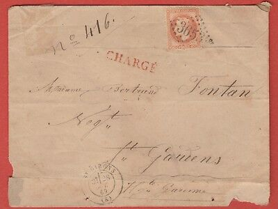 1869 Lettre  40 C Orange St Girons Ariege Charge