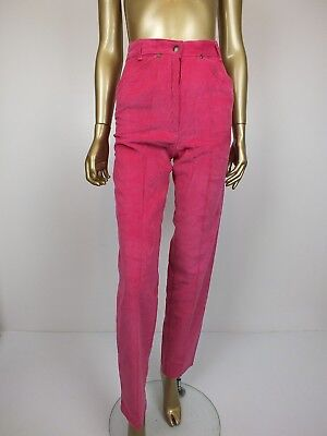 Vintage Retro Velvet Cord Hipster Mom High Waist Rise Pleat Pants 12 Xs S