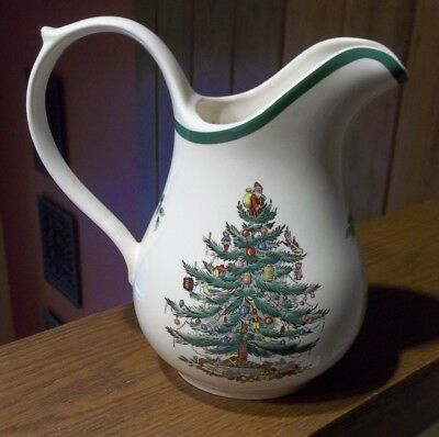 SPODE, Christmas Tree Theme, Porcelain Water Pitcher, S3324 - J, Made in ENGLAND