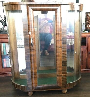 Art Deco Demi Lune Crystal Display Cabinet with Mirror Back
