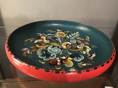 Vintage Norwegian Hand Painted Rosemaling Wood Bowl - Stunning
