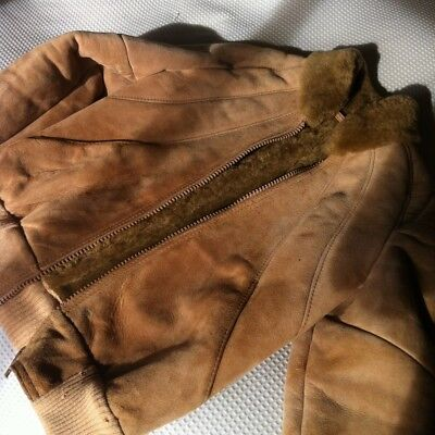 Genuine vintage shearling jacket coat Knights Tailors NZ Small 8-10