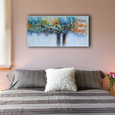 Framed Canvas Prints Stretched Watercolor Colorful Tree Wall Art Home Decor