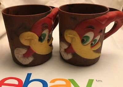 Vintage Woody Woodpecker F&F Die Works Plastic Cups Set Of 2 Deco Cartoon Bird