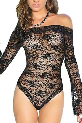 Sheer Black Teddy With Sleeves Lingerie Sexy