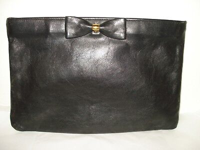 Vintage Blk Leather Clutch/cosmetic Bag Bow Front Antonia Designs