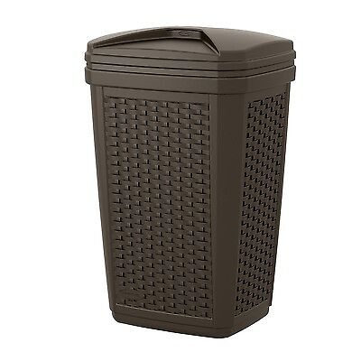 Garbage Container Plastic Trash Can With Lid Outdoor Waste Basket Large Indoor