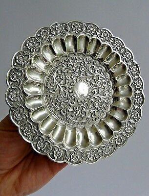 Gorgeous 19th century silver dish signed Oomerci Mawji finest Indian silversmith