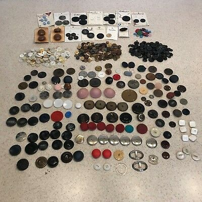 Mixed Lot Vintage Antique Buttons Bag Retro Decor Sewing Hobby Crafting