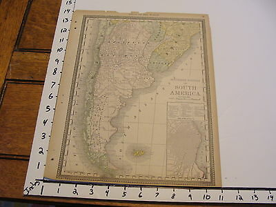 """Vintage 11 x 14""""  MAP 1800's--SOUTHERN PORTIONS OF SOUTH AMERICA"""