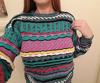 Vintage G. Copeland Brand Cosby / Coogi Style  Sweater Striped  Size L Youth  !