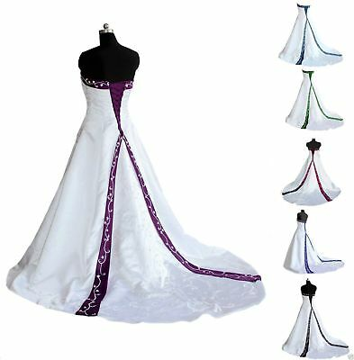satin Embroidery Wedding Dress Formal Bride Dresses Bridal Gown Plus Size 2-28++