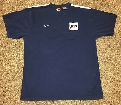 Nike x USA Mens Lg Navy 'USA HOCKEY' Embroidered Short Sleeve T-shirt IIHF Large