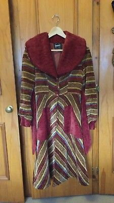 Vintage 1970s Does 1930s Chenille Striped Coat