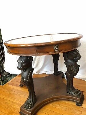 Lane collection marble top table with four drawers With Lion Legs