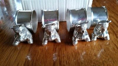 Vintage International Silver Co. Silver plated Napkin Ring Holders with BEAR x 6