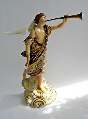 18th century Derby figure of angel with trumpet- incised 'No 302'- Impressive