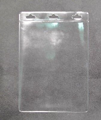 A6 Premium Plastic ID CARD HOLDER POUCH Clear PVC Pocket Badge Lanyard Suit