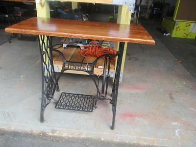 Antique Singer Treadle Sewing Machine Cast Iron Base Wood Top Table