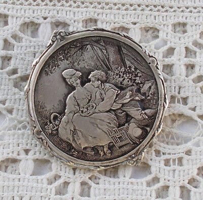 """RARE Vintage France Antique Victorian 1.25"""" Silver Brooch Mother & Child Jewelry"""