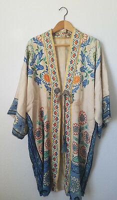 VTG* Art Deco* 20's/30's* Japanese Silk Kimono* Flapper*as is*Birds/Floral* S/M*