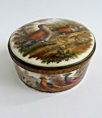 Exceptional 19th century hand painted porcelain lidded box German- Gilt mount