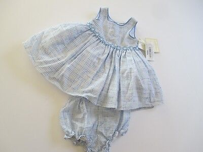 Laura Ashley London Baby Girl Dress 2 Pc 3 6 M Blue White