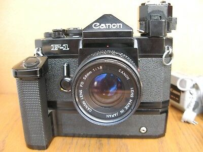 vintage Canon F-1 w Winder Motor , Lenses plus Extras LOT NoReserv