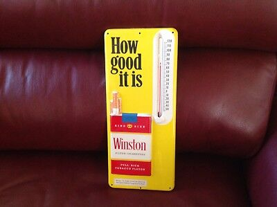 Vintage Winston Embossed  Metal Thermometer-Exc. Cond. Works.