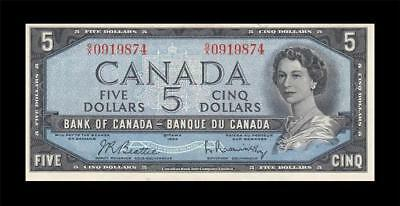 1954 BANK OF CANADA QEII $5 **Beattie & Rasminsky** (( aUNC ))
