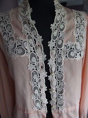 vintage blouse antique 1930s lace trim pearl buttons