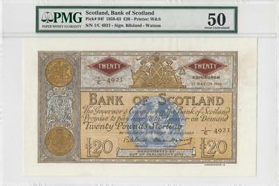 25.3.1958 Bank Of Scotland 20 Pounds **x-Rare** (( Pmg 50 ))