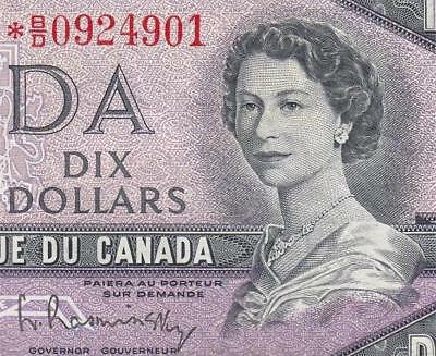 1954 Bank Of Canada Qeii $10 **star Note** (( Ef+ ))