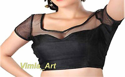 Readymade Designer Saree Blouse black Color Velvet ,Net Saree blouse Choli,