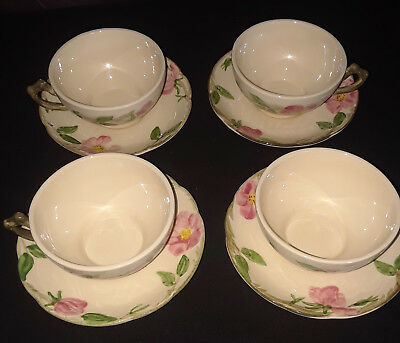 Desert Rose Franciscan Vintage Flat Cups and Saucers Early 1970's USA