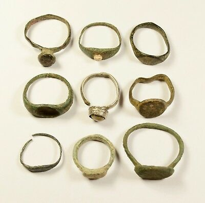 Mixed Lot Of 9 Roman / Post Medieval Bronze Rings - Great Artifacts