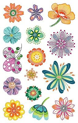 Avery Zweckform Fantasy Flower Stickers 15x2 Sheets, Multi-Color, Scrapbooking